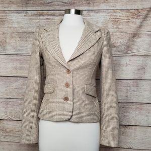 Juicy Couture Wool Blend Brown Plaid Blazer Sz M